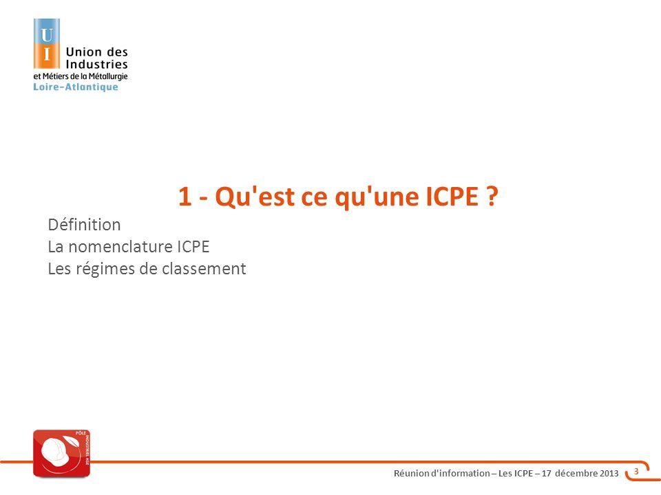 1 - Qu est ce qu une ICPE Définition