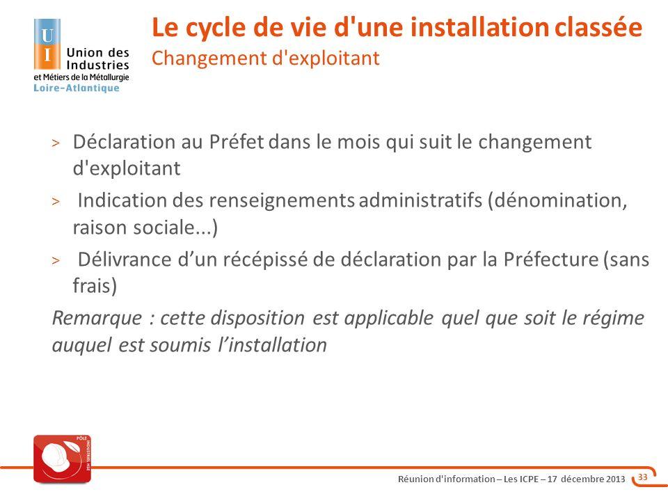 Le cycle de vie d une installation classée Changement d exploitant