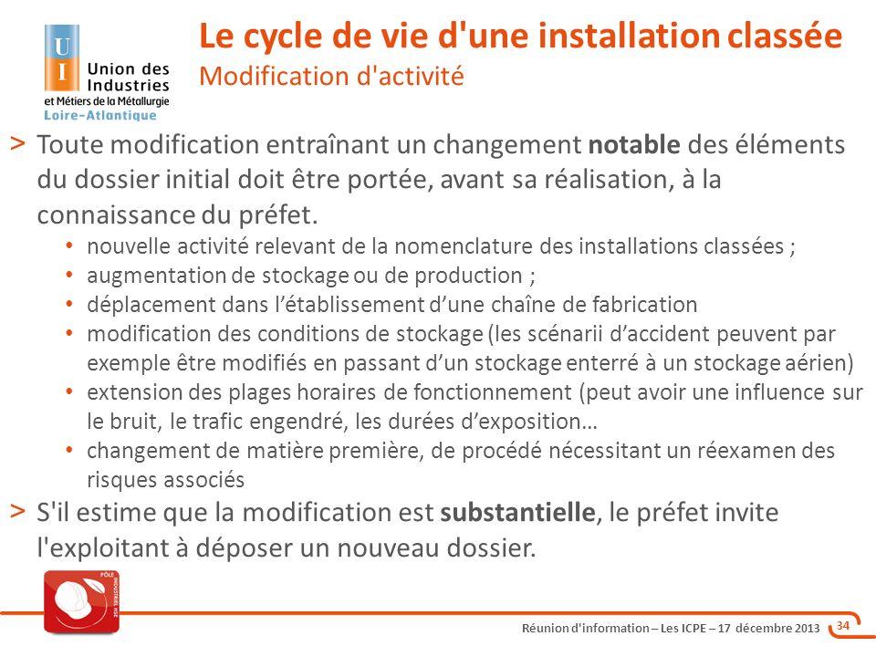 Le cycle de vie d une installation classée Modification d activité