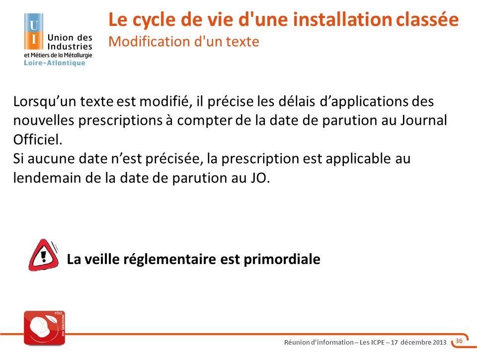 Le cycle de vie d une installation classée Modification d un texte