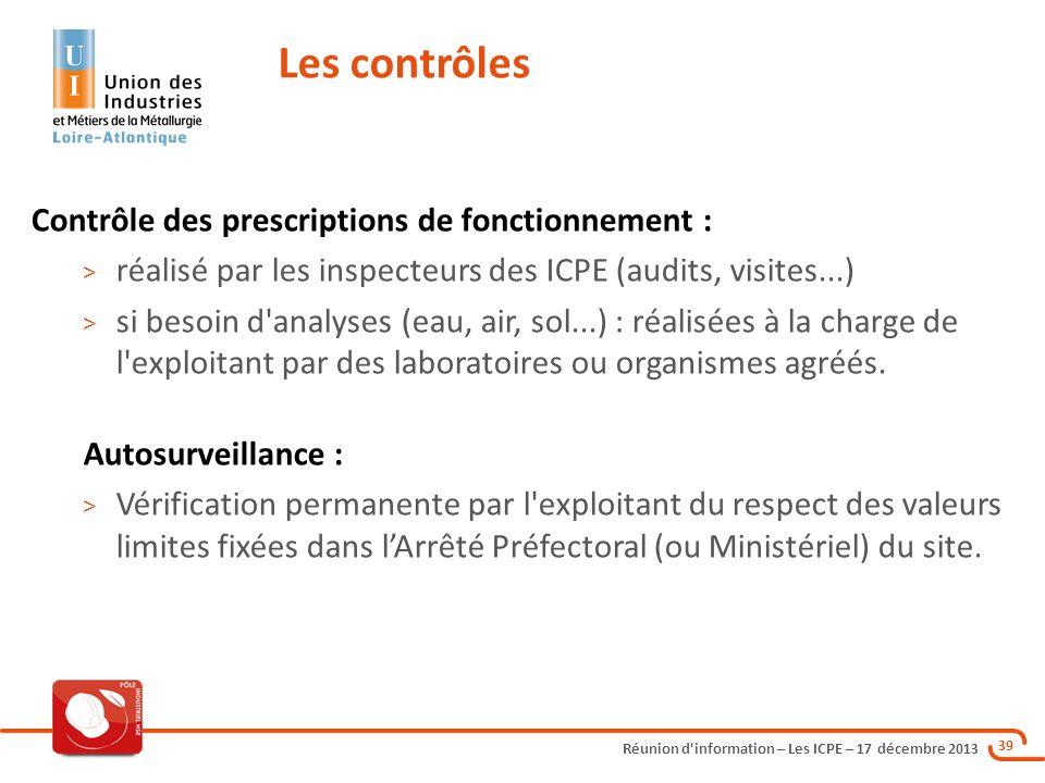 Les contrôles Contrôle des prescriptions de fonctionnement :