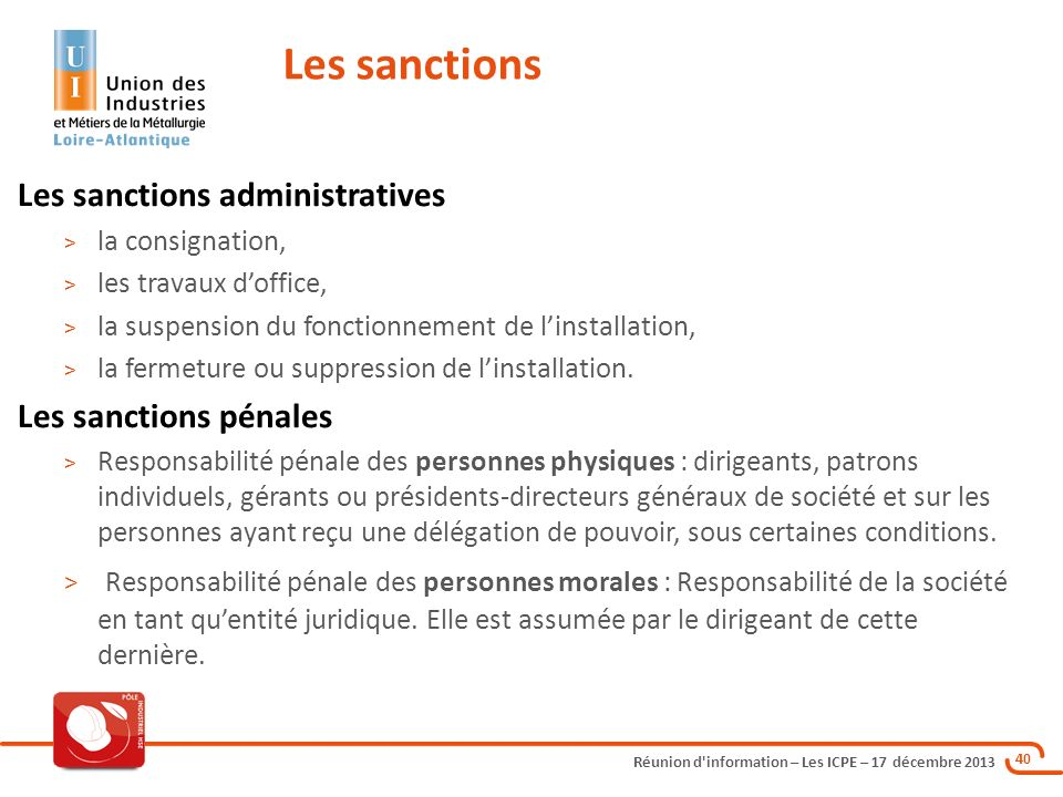 Les sanctions Les sanctions administratives Les sanctions pénales