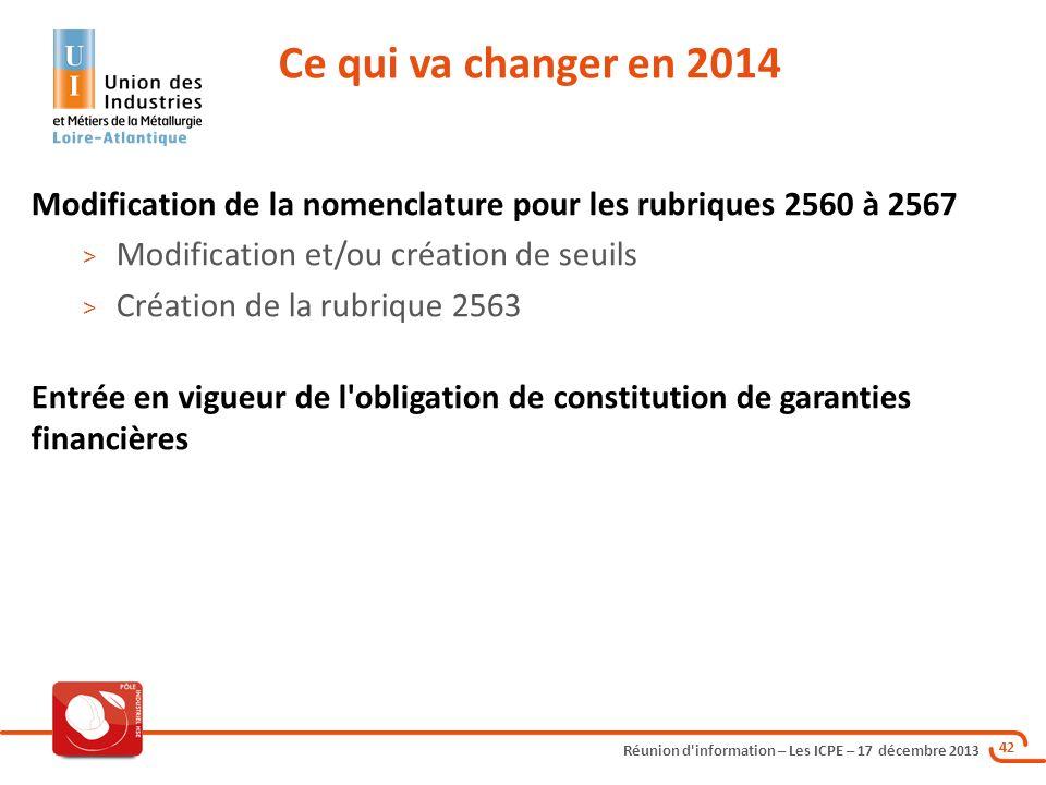 Ce qui va changer en 2014 Modification de la nomenclature pour les rubriques 2560 à 2567. Modification et/ou création de seuils.