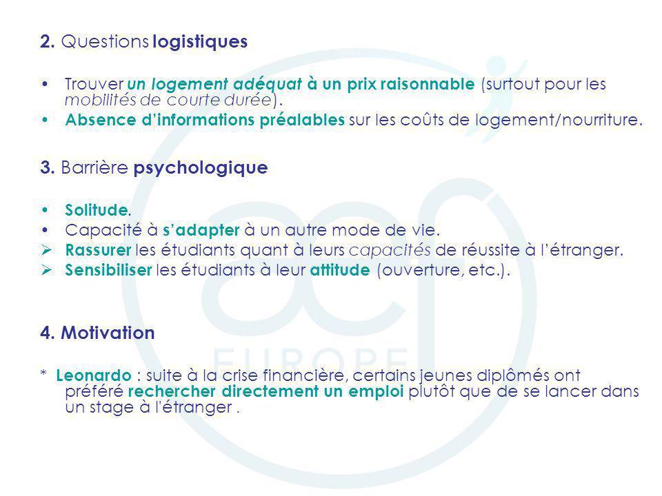2. Questions logistiques