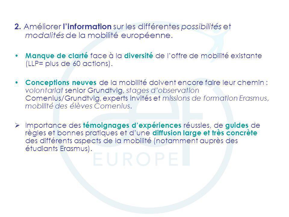 2. Améliorer l'information sur les différentes possibilités et modalités de la mobilité européenne.