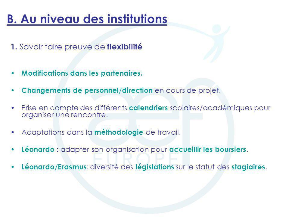 B. Au niveau des institutions