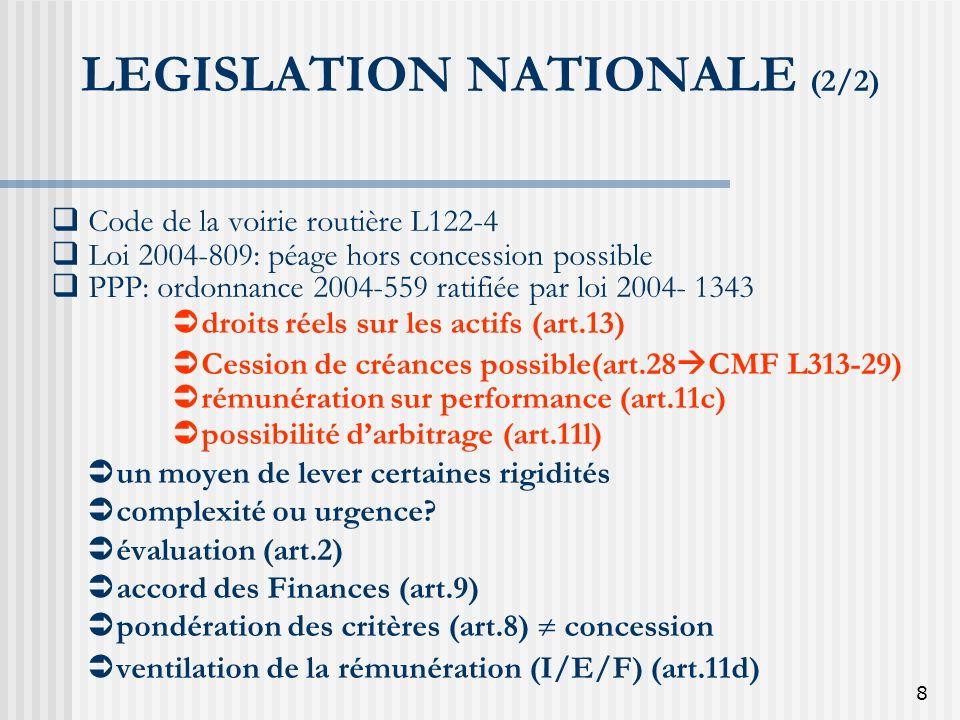 LEGISLATION NATIONALE (2/2)