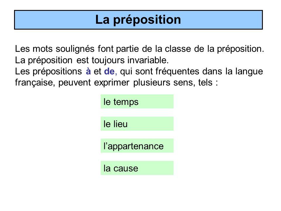 La préposition Les mots soulignés font partie de la classe de la préposition. La préposition est toujours invariable.