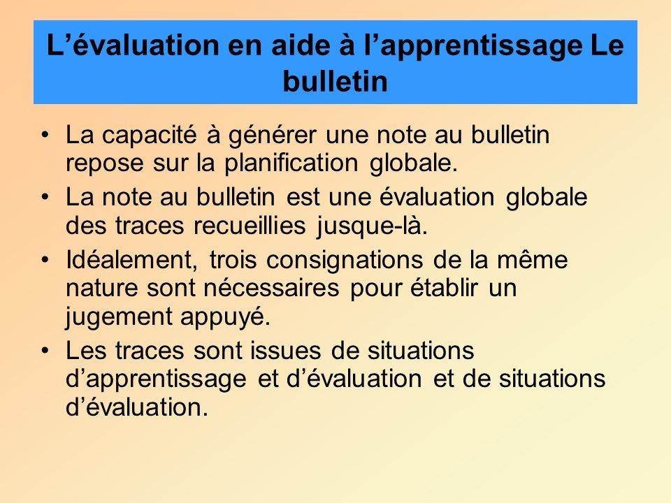 L'évaluation en aide à l'apprentissage Le bulletin