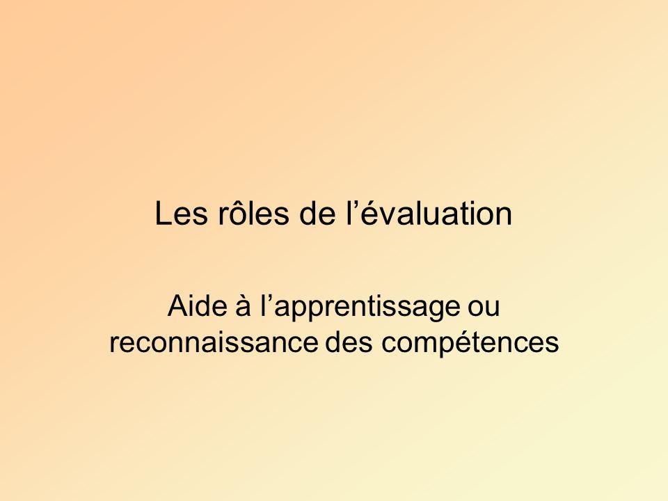 Les rôles de l'évaluation