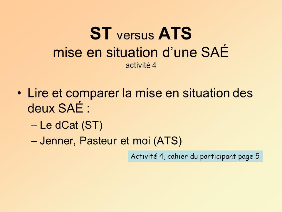 ST versus ATS mise en situation d'une SAÉ activité 4