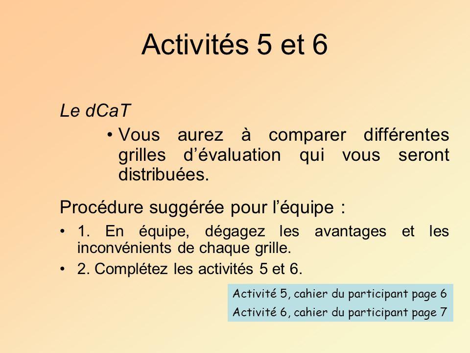 Activités 5 et 6 Le dCaT. Vous aurez à comparer différentes grilles d'évaluation qui vous seront distribuées.
