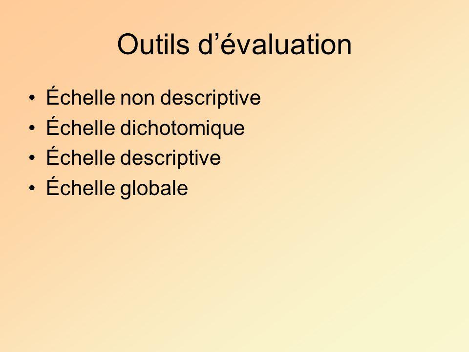 Outils d'évaluation Échelle non descriptive Échelle dichotomique