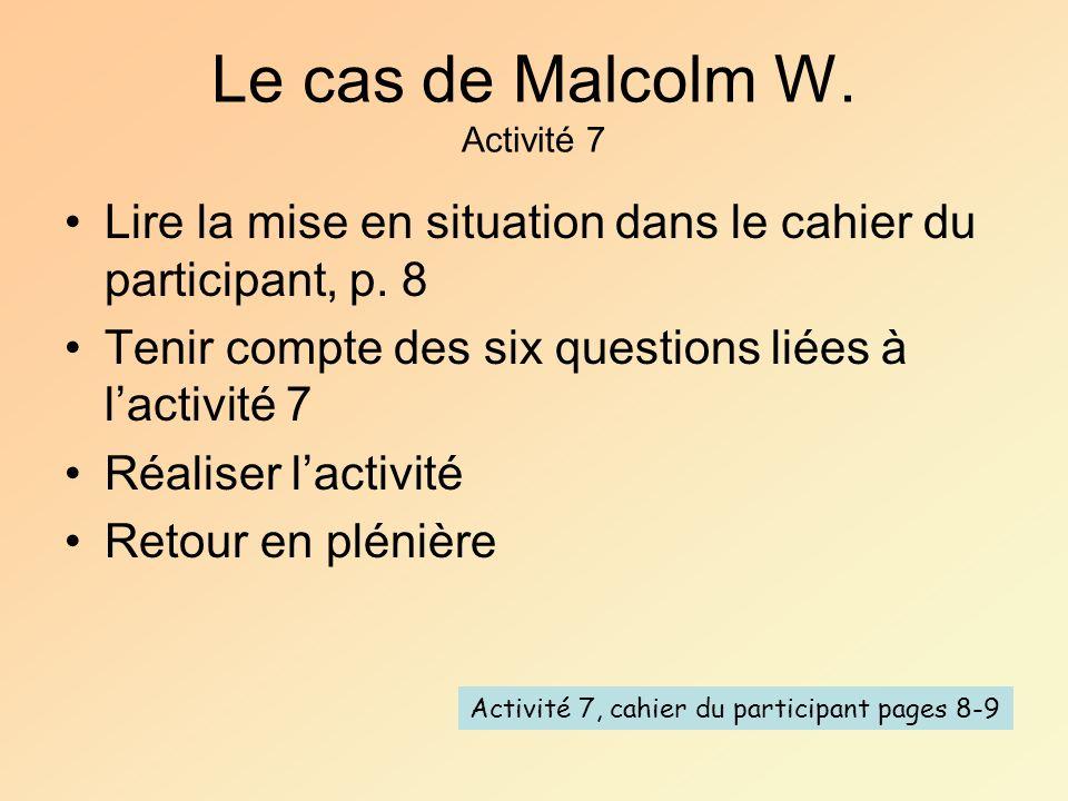 Le cas de Malcolm W. Activité 7