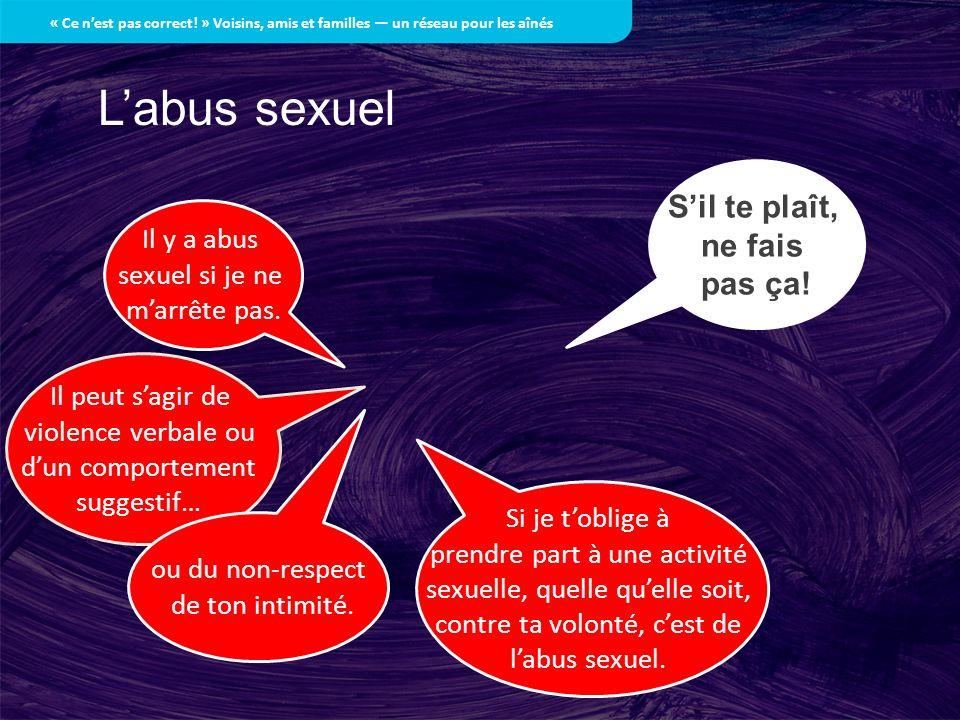L'abus sexuel S'il te plaît, ne fais pas ça! Il y a abus