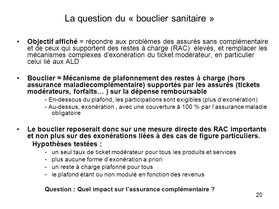 La question du « bouclier sanitaire »