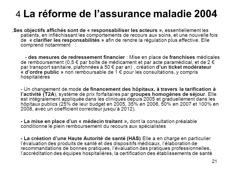 4 La réforme de l'assurance maladie 2004