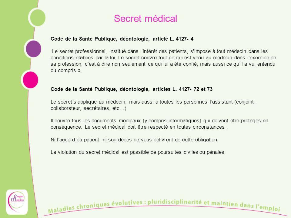 Secret médical Code de la Santé Publique, déontologie, article L. 4127- 4.