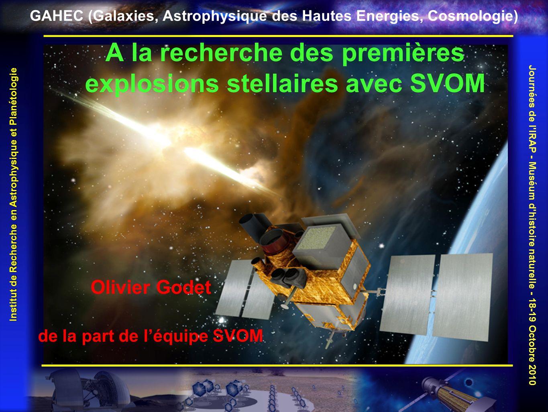 A la recherche des premières explosions stellaires avec SVOM