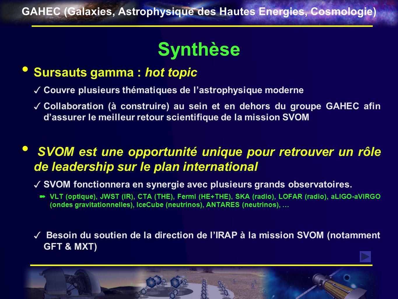 Synthèse Sursauts gamma : hot topic