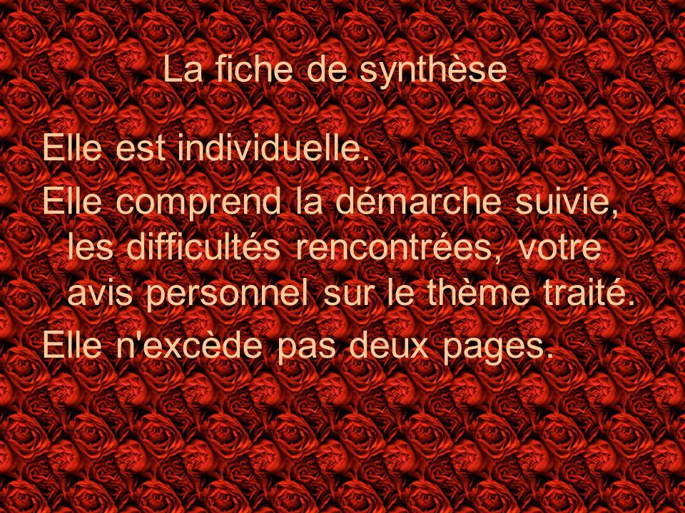 La fiche de synthèse Elle est individuelle.