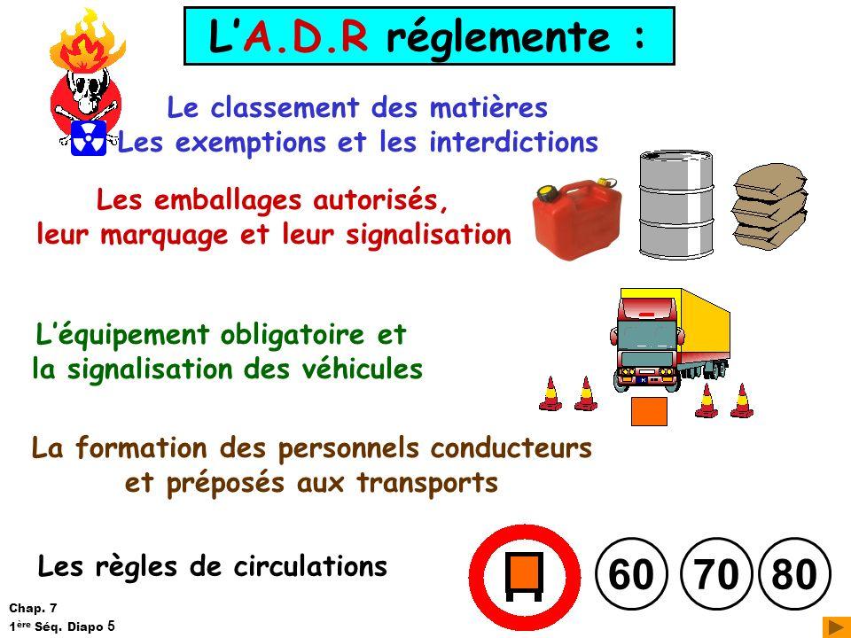 L'A.D.R réglemente : 60 70 80 Le classement des matières