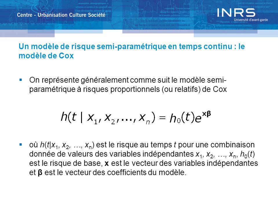 Un modèle de risque semi-paramétrique en temps continu : le modèle de Cox