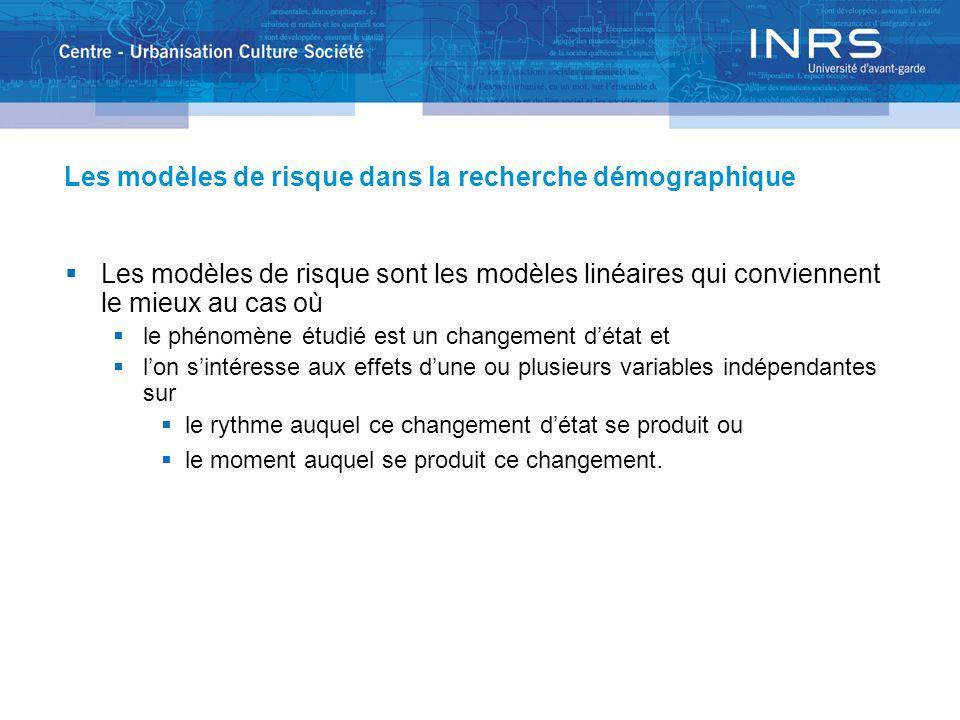 Les modèles de risque dans la recherche démographique