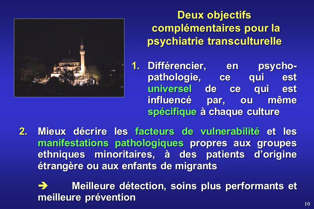 Deux objectifs complémentaires pour la psychiatrie transculturelle