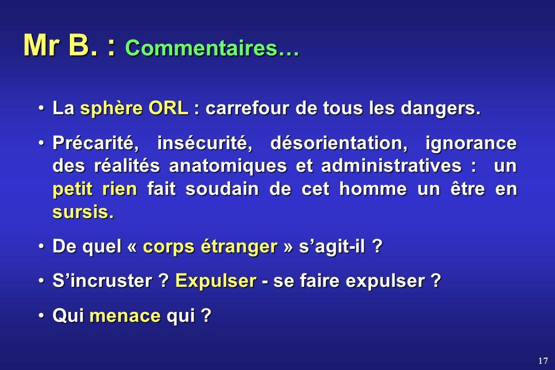 Mr B. : Commentaires… La sphère ORL : carrefour de tous les dangers.