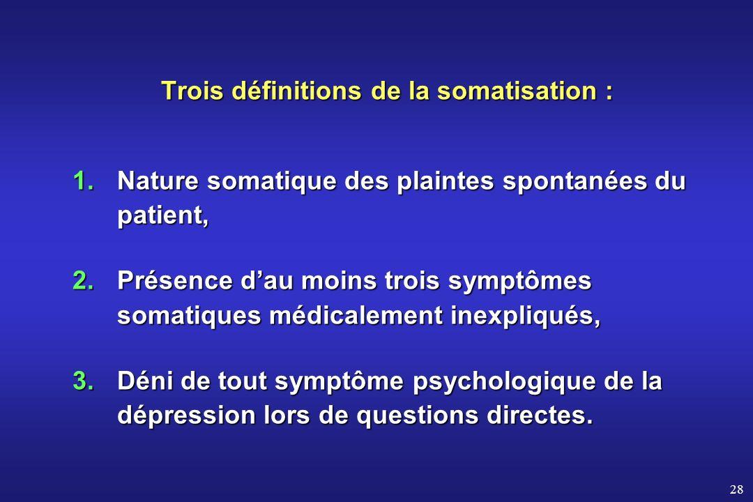 Trois définitions de la somatisation :