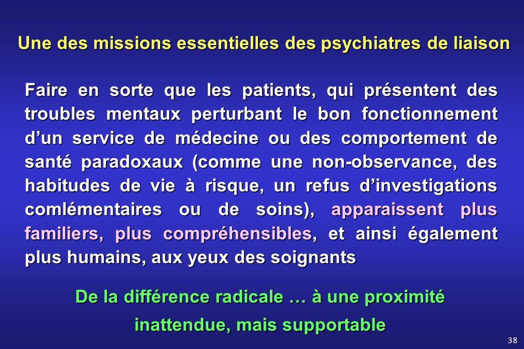 Une des missions essentielles des psychiatres de liaison