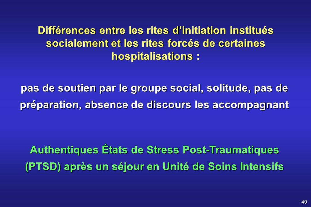 Différences entre les rites d'initiation institués socialement et les rites forcés de certaines hospitalisations :