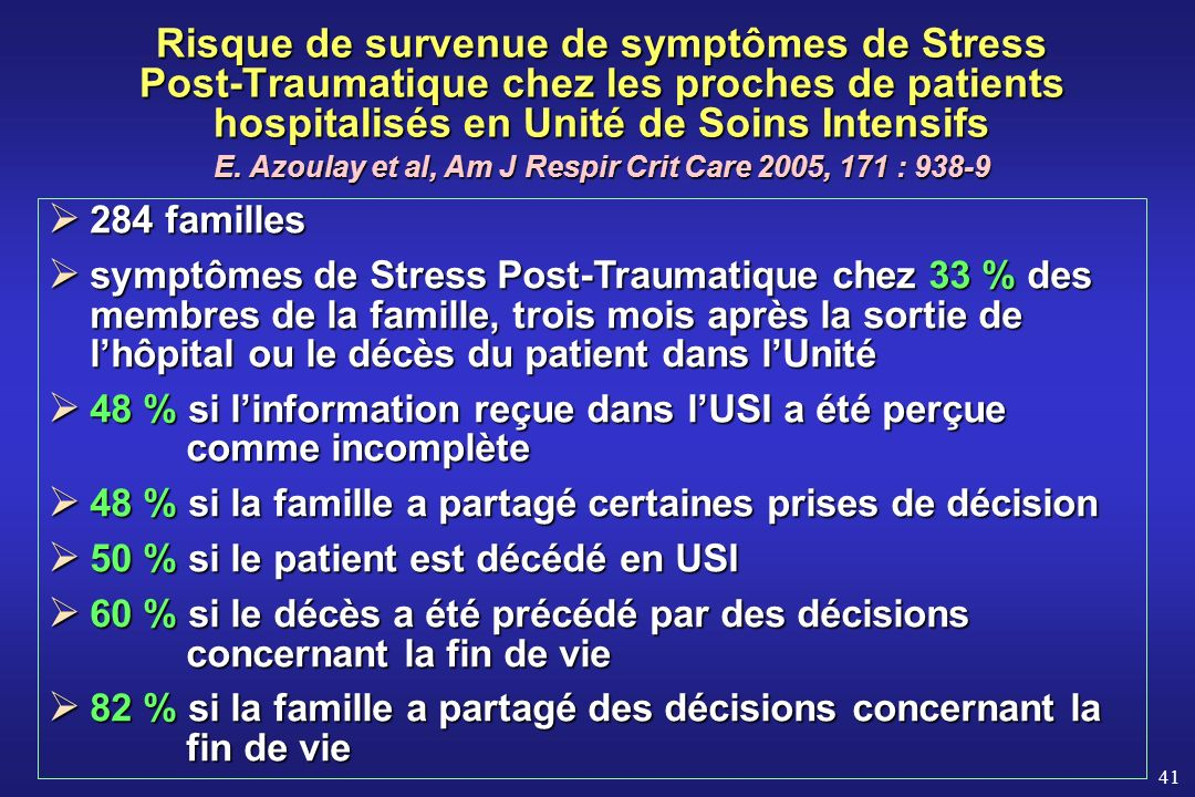 E. Azoulay et al, Am J Respir Crit Care 2005, 171 : 938-9