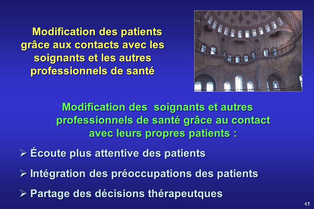 Modification des patients grâce aux contacts avec les soignants et les autres professionnels de santé