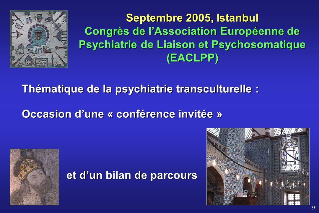 Septembre 2005, Istanbul Congrès de l'Association Européenne de Psychiatrie de Liaison et Psychosomatique (EACLPP)