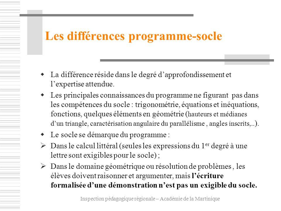 Les différences programme-socle