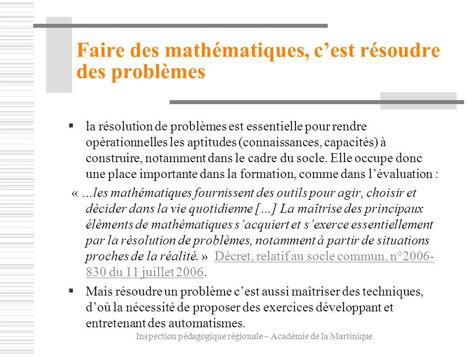 Faire des mathématiques, c'est résoudre des problèmes
