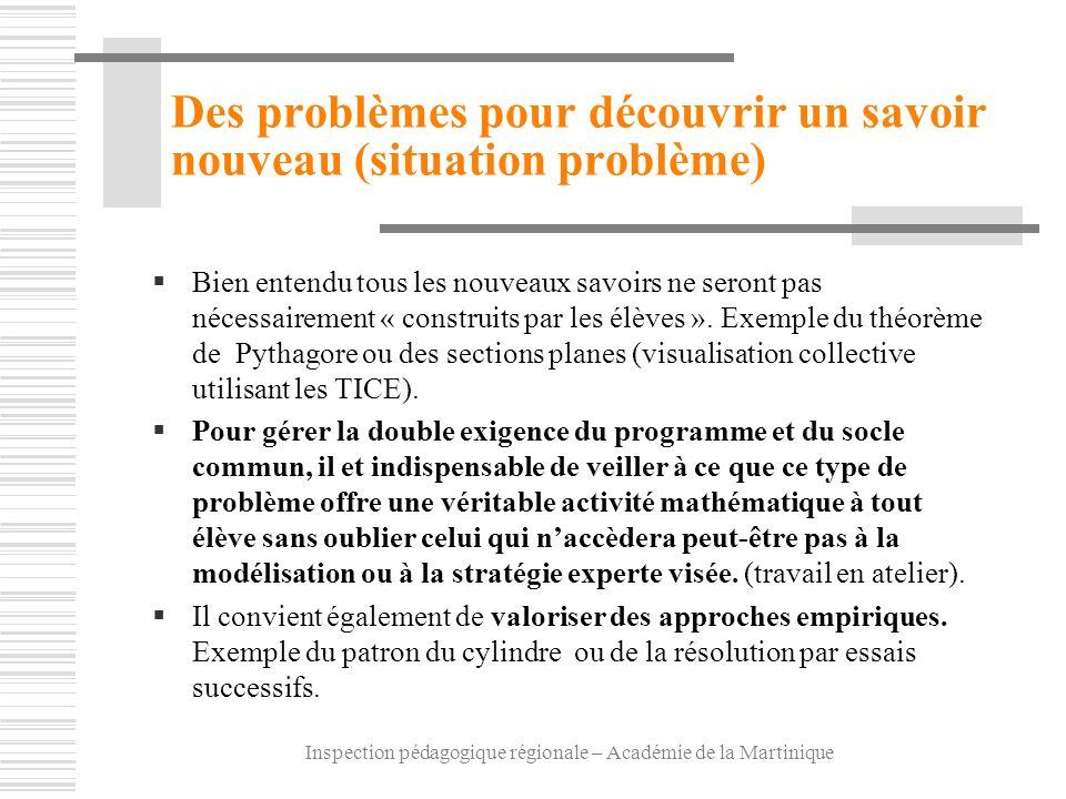Des problèmes pour découvrir un savoir nouveau (situation problème)