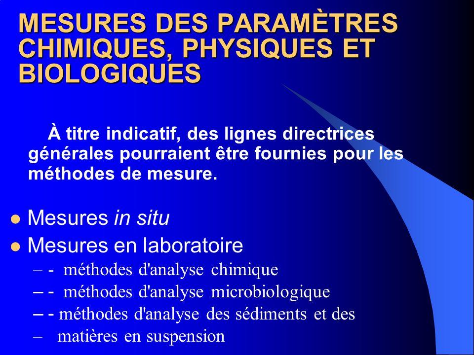 MESURES DES PARAMÈTRES CHIMIQUES, PHYSIQUES ET BIOLOGIQUES