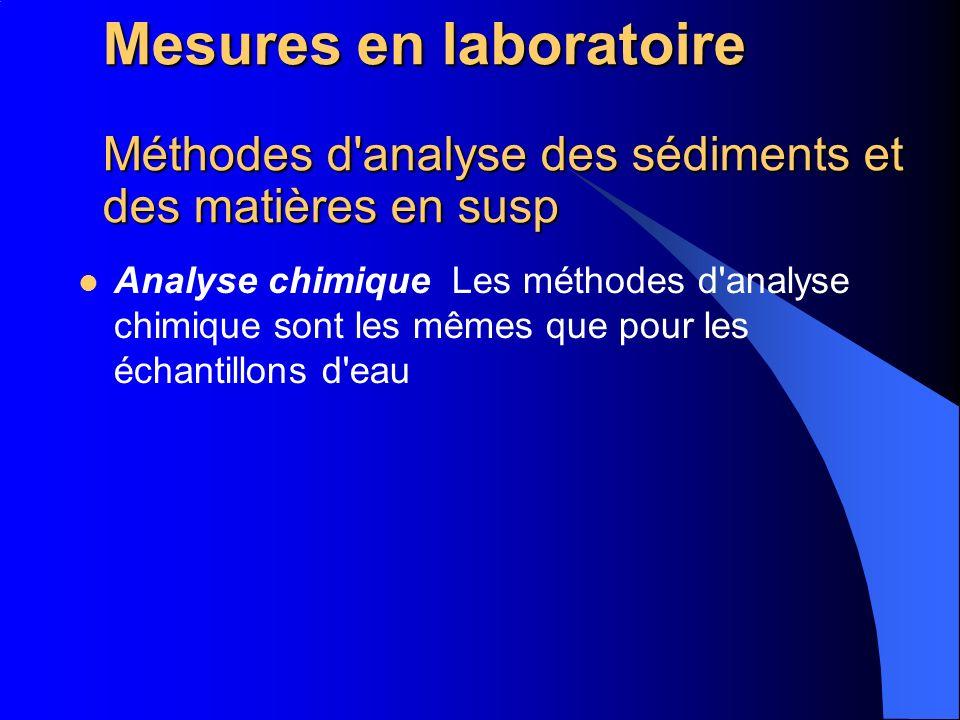 Mesures en laboratoire Méthodes d analyse des sédiments et des matières en susp