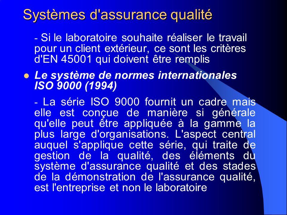 Systèmes d assurance qualité