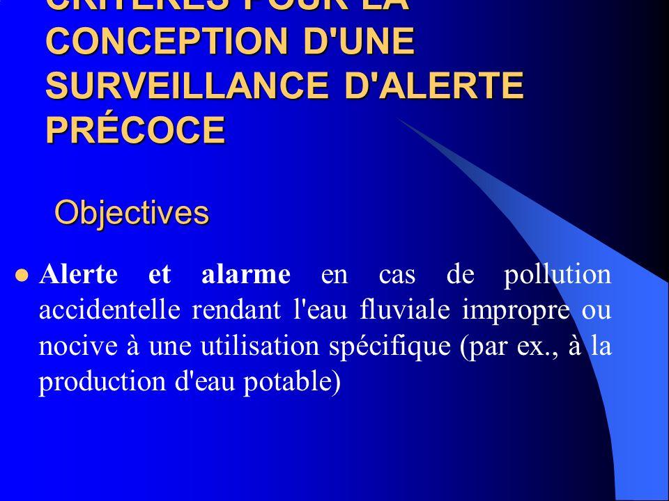 CRITÈRES POUR LA CONCEPTION D UNE SURVEILLANCE D ALERTE PRÉCOCE Objectives