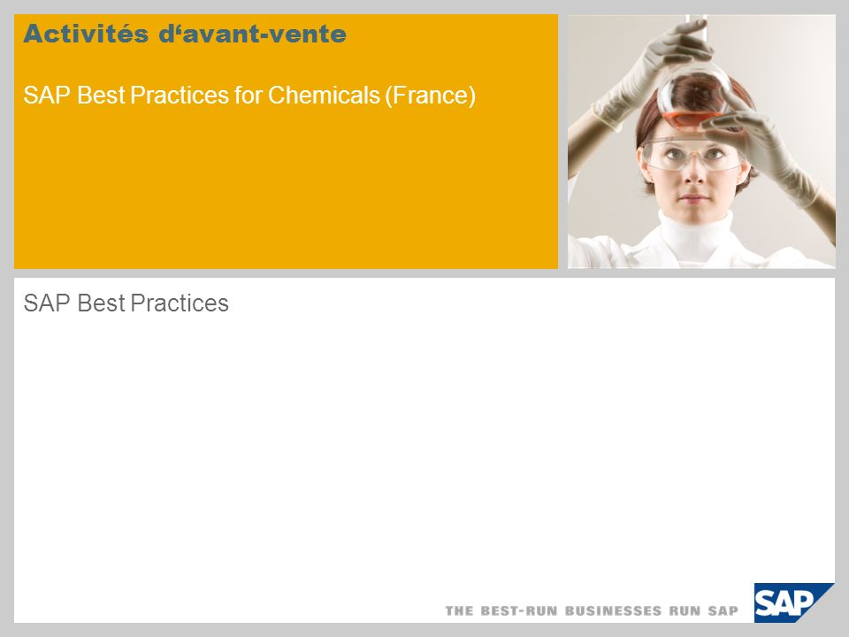 Activités d'avant-vente SAP Best Practices for Chemicals (France)