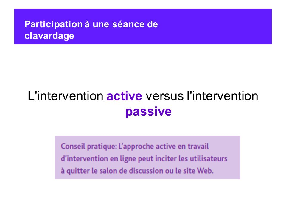 L intervention active versus l intervention passive