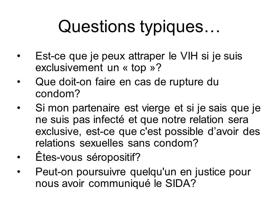 Questions typiques… Est-ce que je peux attraper le VIH si je suis exclusivement un « top » Que doit-on faire en cas de rupture du condom