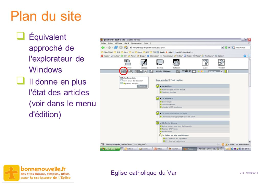 Plan du site Équivalent approché de l explorateur de Windows
