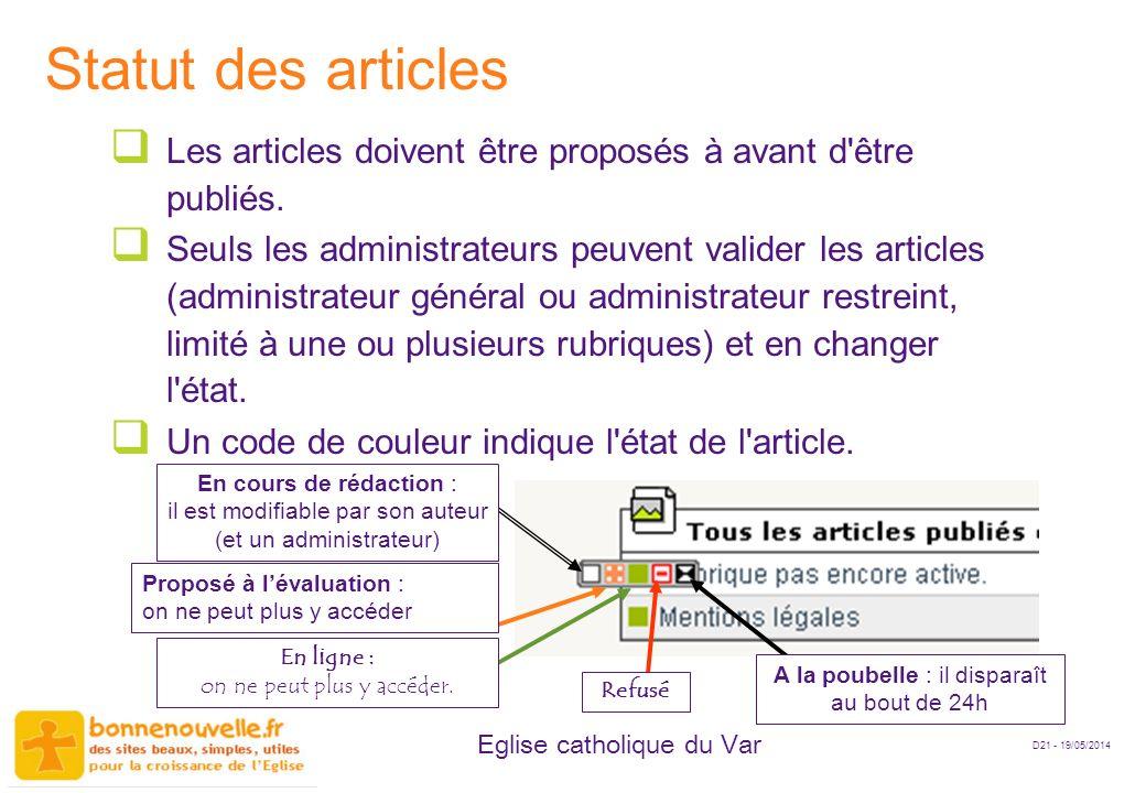 Statut des articles Les articles doivent être proposés à avant d être publiés.