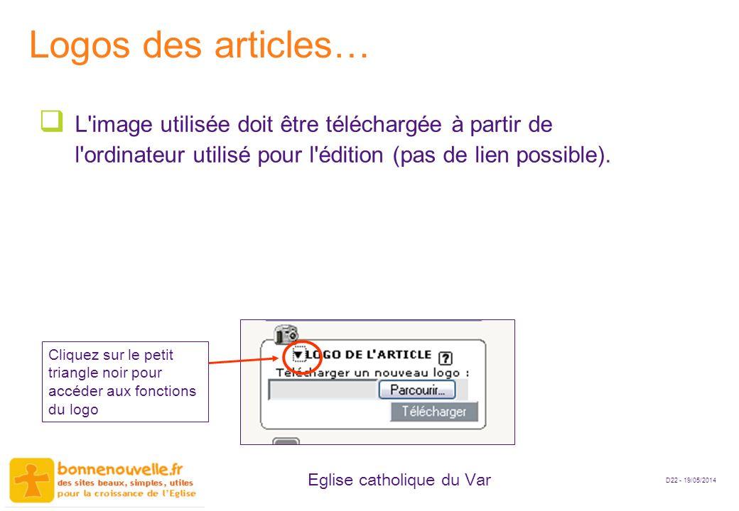 Logos des articles… L image utilisée doit être téléchargée à partir de l ordinateur utilisé pour l édition (pas de lien possible).