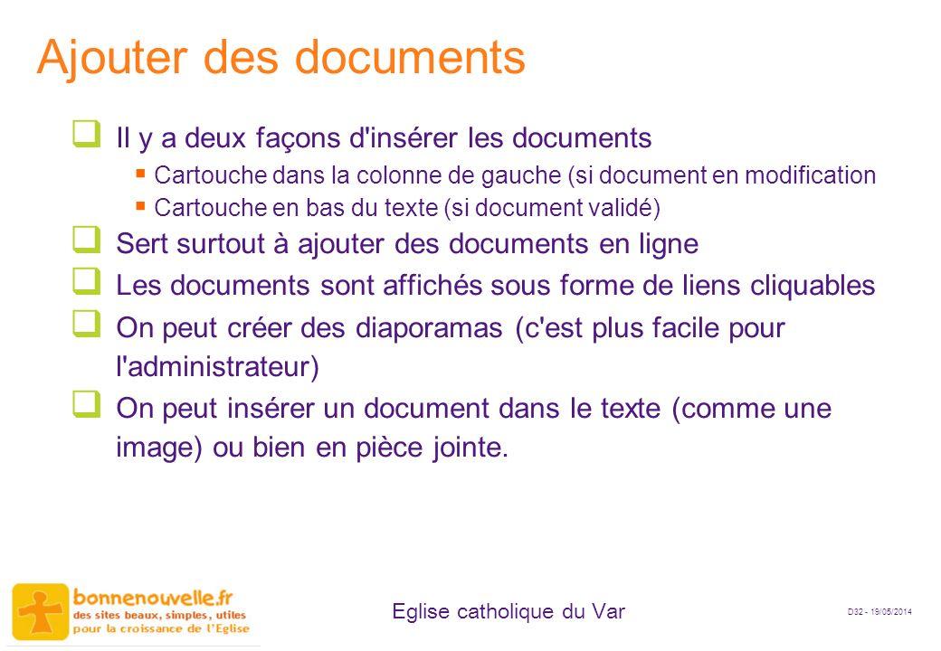 Ajouter des documents Il y a deux façons d insérer les documents